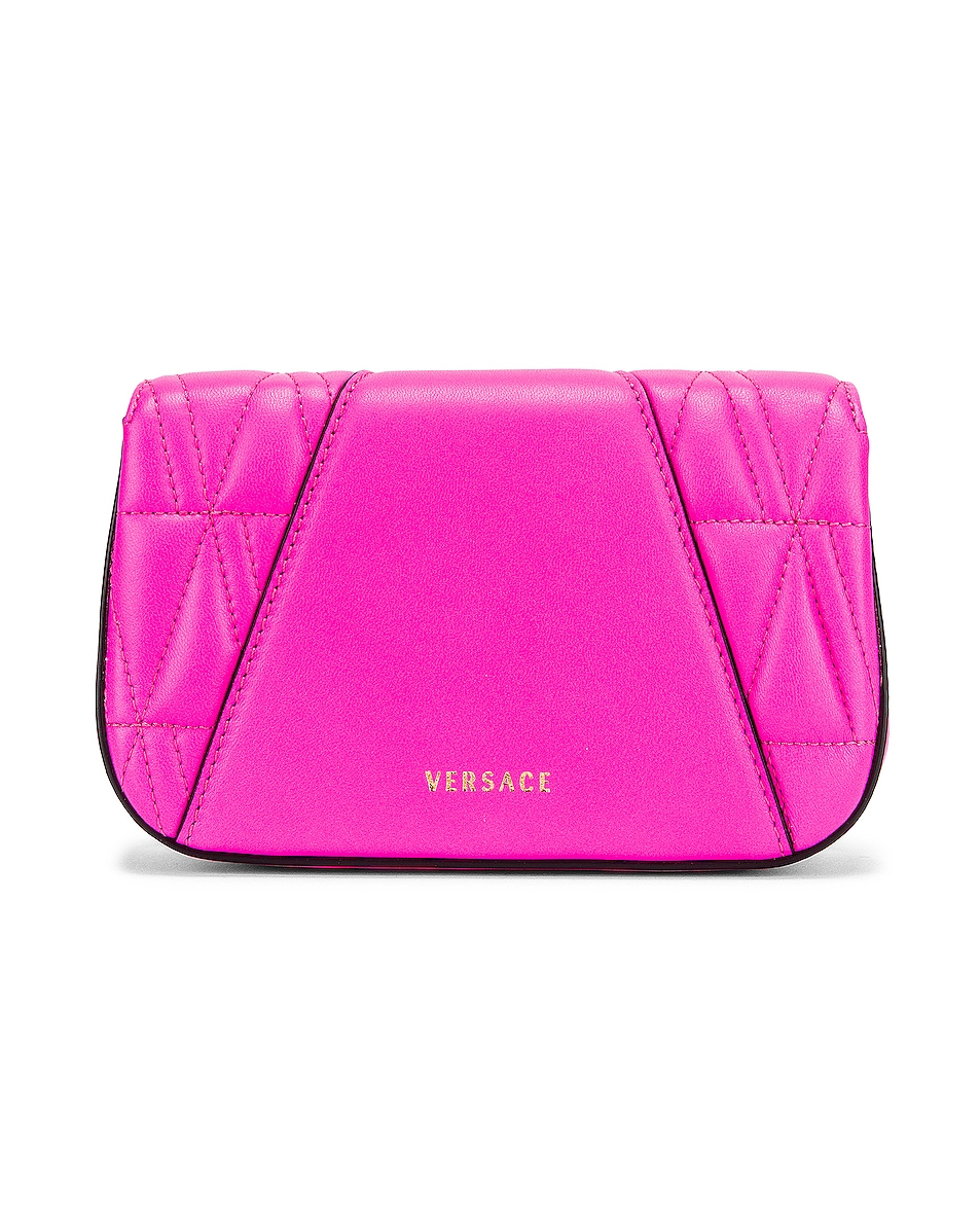 Image 3 of VERSACE Quilted Leather Tribute Rectangle Crossbody Bag in Fuchsia & Gold