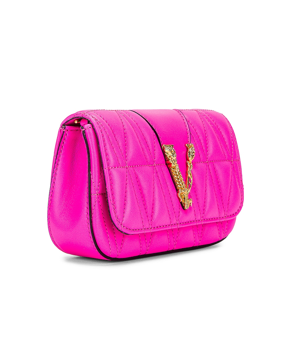 Image 4 of VERSACE Quilted Leather Tribute Rectangle Crossbody Bag in Fuchsia & Gold