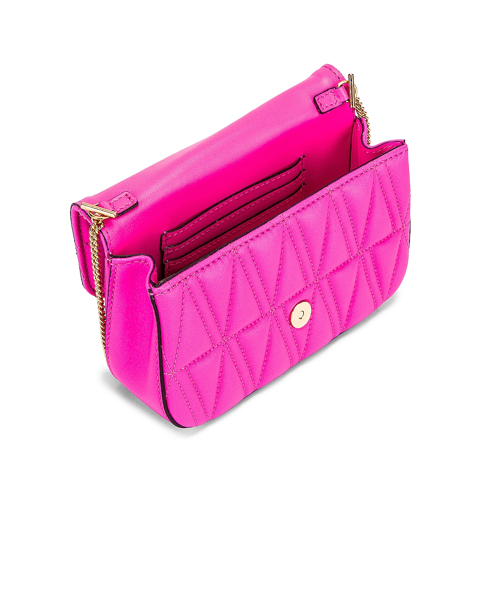 Image 5 of VERSACE Quilted Leather Tribute Rectangle Crossbody Bag in Fuchsia & Gold