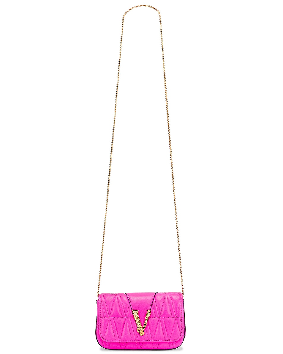 Image 6 of VERSACE Quilted Leather Tribute Rectangle Crossbody Bag in Fuchsia & Gold
