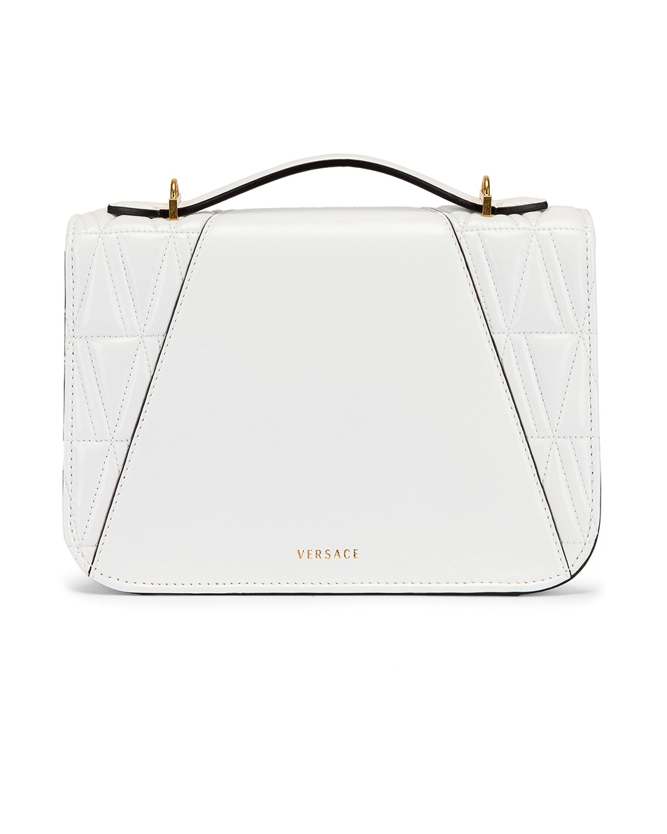 Image 3 of VERSACE Quilted Leather Tribute Crossbody Bag in White & Gold