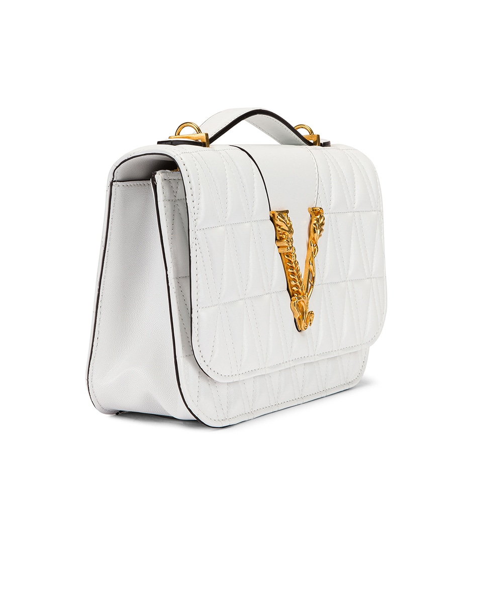 Image 4 of VERSACE Quilted Leather Tribute Crossbody Bag in White & Gold
