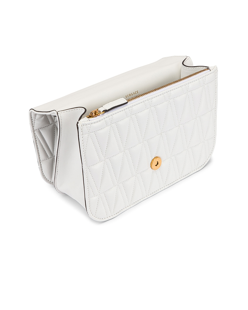 Image 5 of VERSACE Quilted Leather Tribute Crossbody Bag in White & Gold