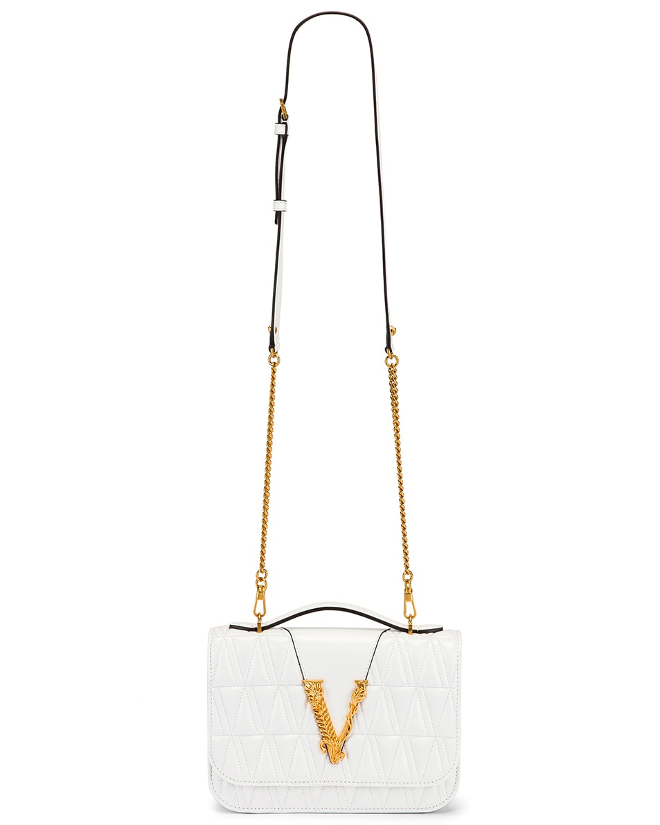 Image 6 of VERSACE Quilted Leather Tribute Crossbody Bag in White & Gold