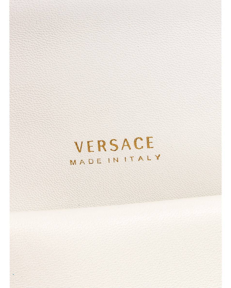 Image 7 of VERSACE Quilted Leather Tribute Crossbody Bag in White & Gold