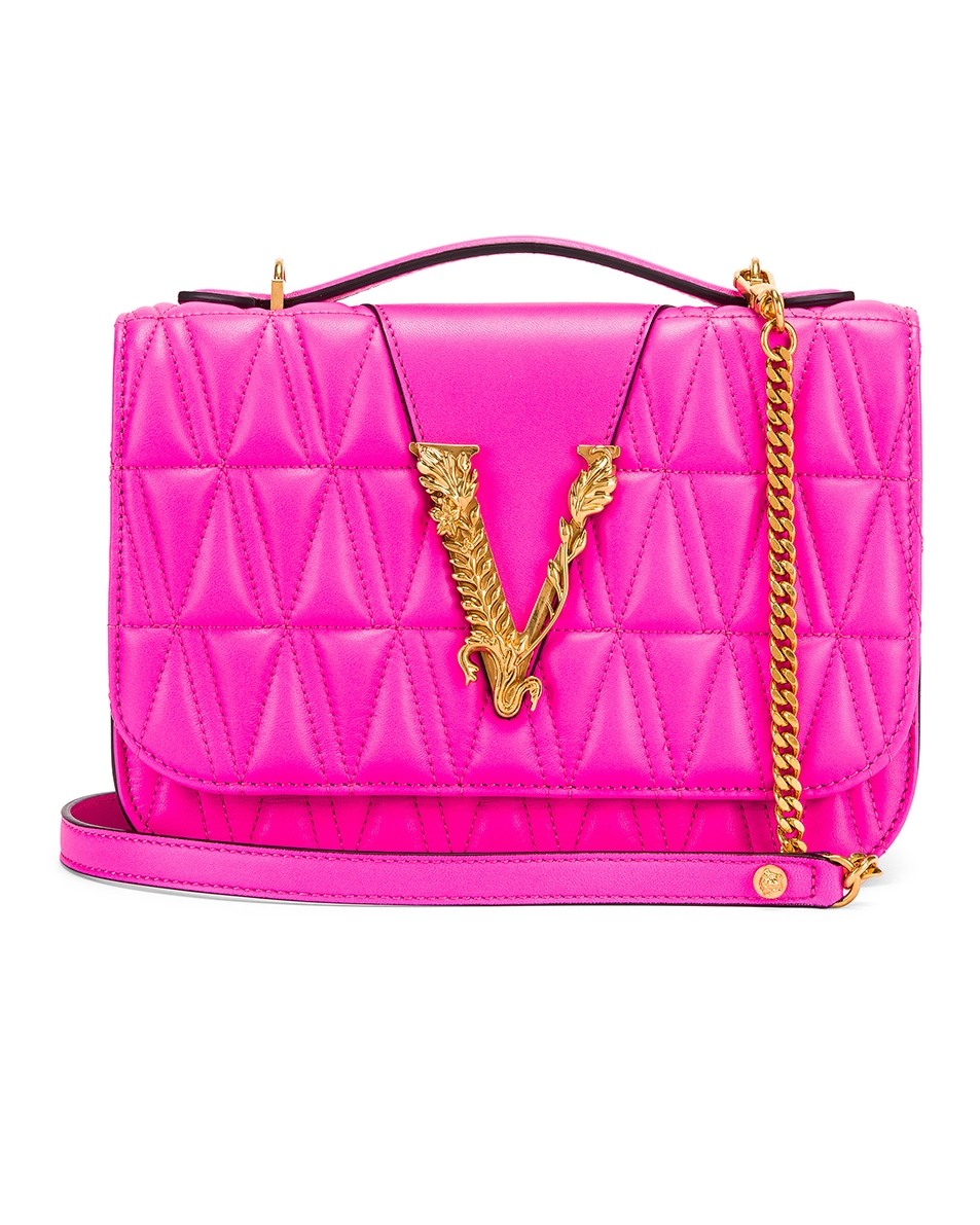 Image 1 of VERSACE Quilted Leather Tribute Crossbody Bag in Fuchsia & Gold