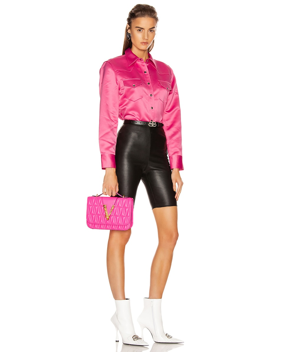 Image 2 of VERSACE Quilted Leather Tribute Crossbody Bag in Fuchsia & Gold