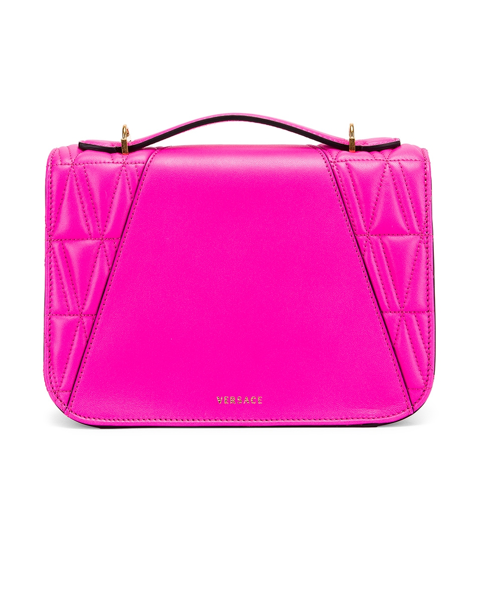 Image 3 of VERSACE Quilted Leather Tribute Crossbody Bag in Fuchsia & Gold