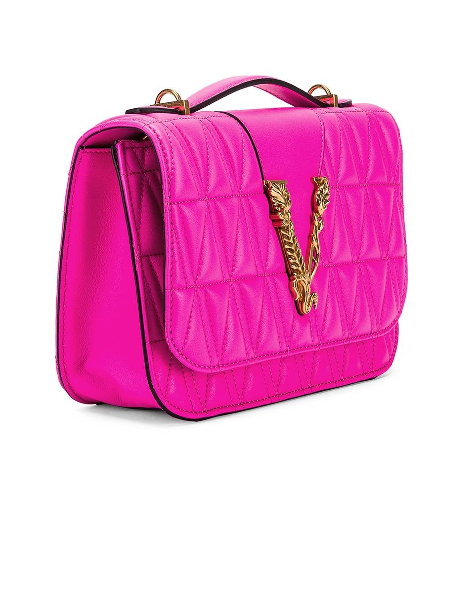 Image 4 of VERSACE Quilted Leather Tribute Crossbody Bag in Fuchsia & Gold