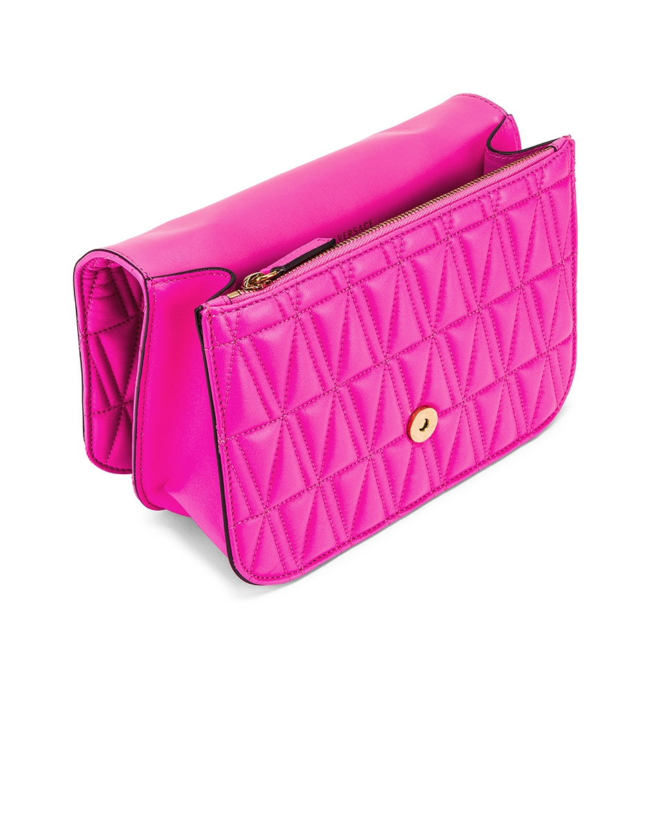 Image 5 of VERSACE Quilted Leather Tribute Crossbody Bag in Fuchsia & Gold