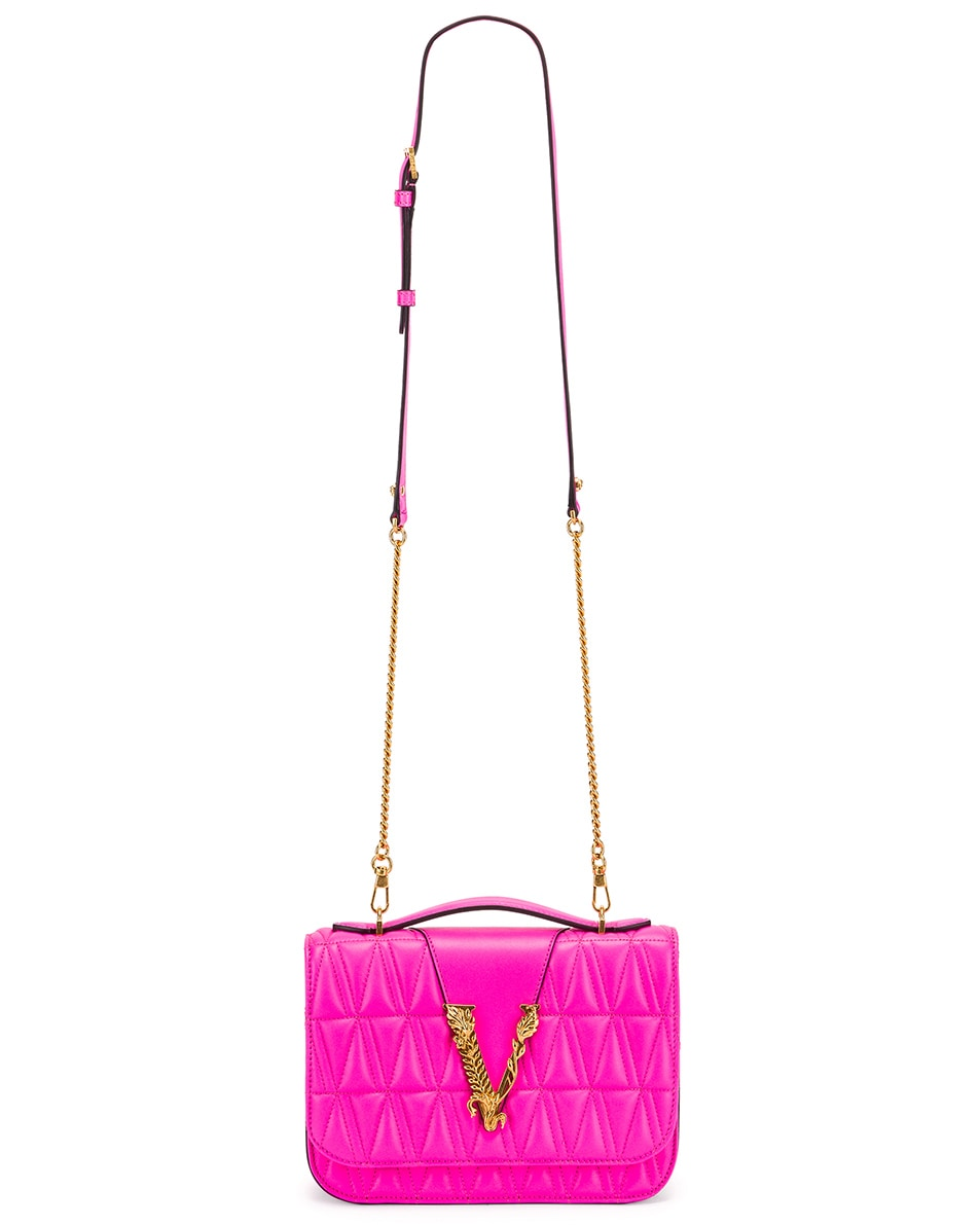 Image 6 of VERSACE Quilted Leather Tribute Crossbody Bag in Fuchsia & Gold