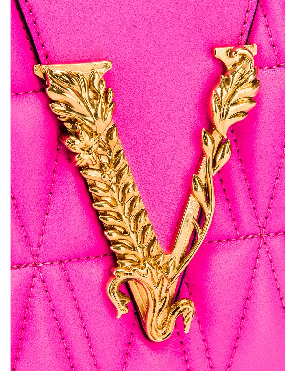 Image 8 of VERSACE Quilted Leather Tribute Crossbody Bag in Fuchsia & Gold