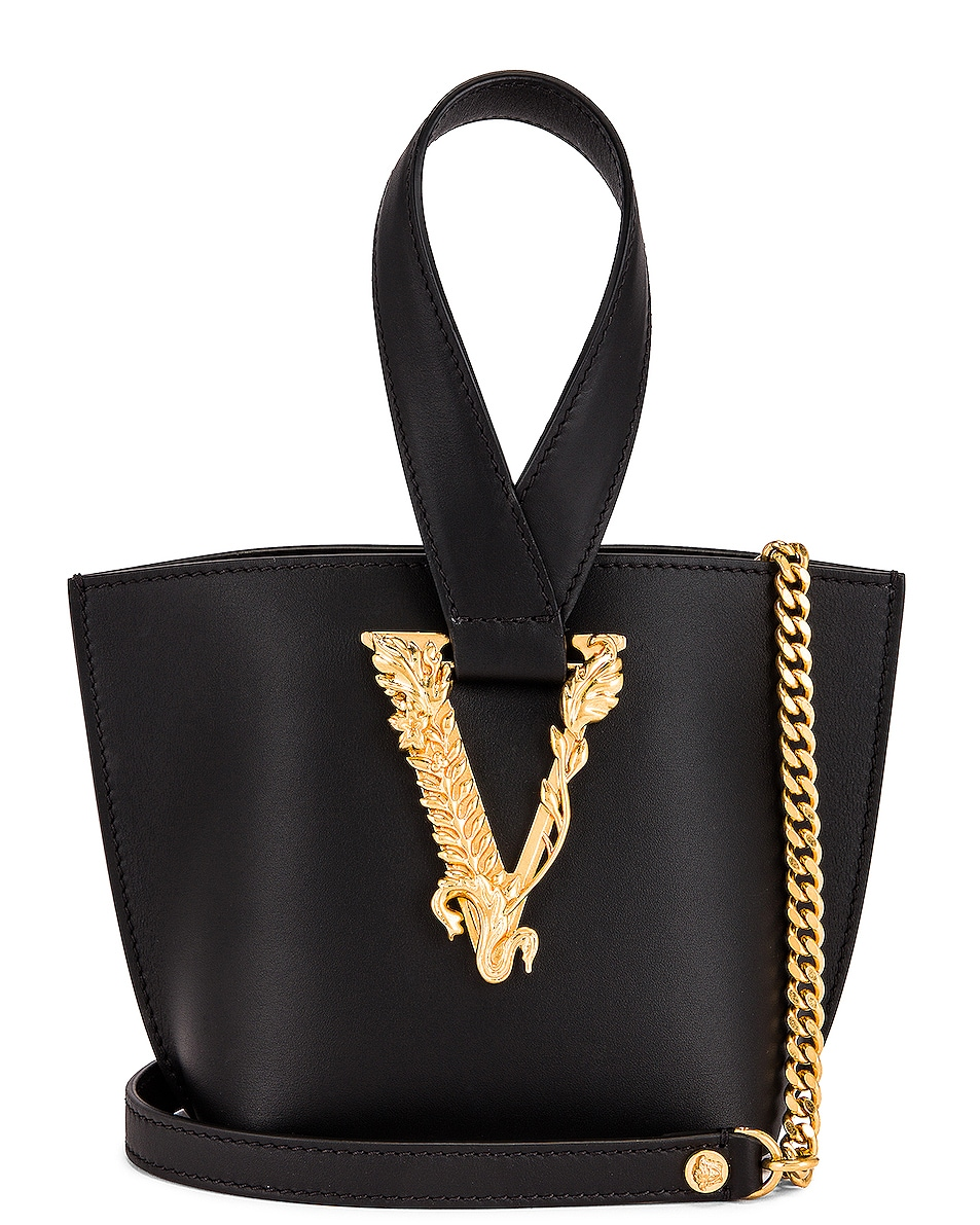 Image 1 of VERSACE Tribute Leather Bag in Black & Gold