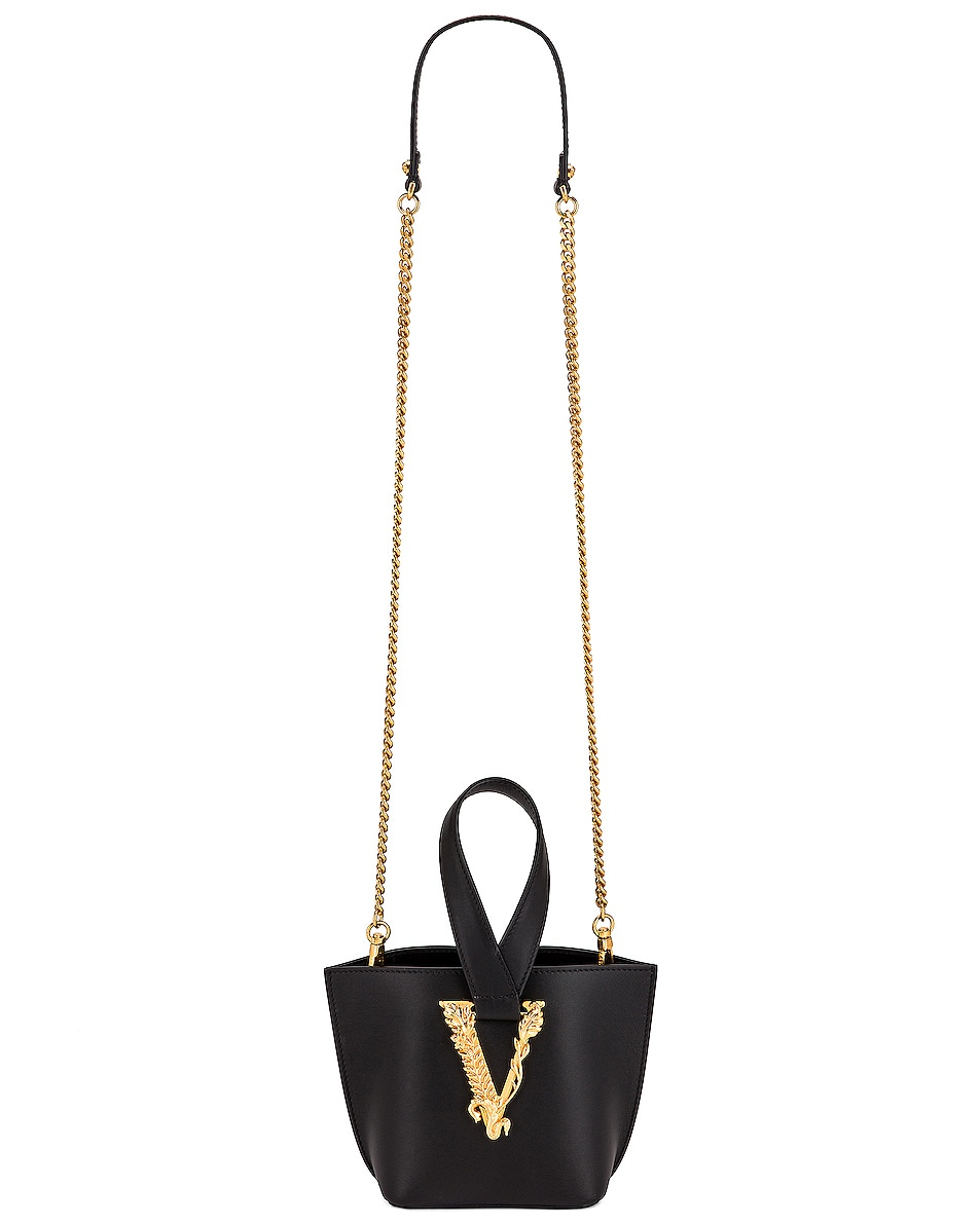 Image 6 of VERSACE Tribute Leather Bag in Black & Gold