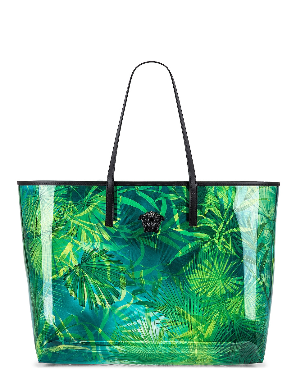 Image 1 of VERSACE Tribute Palm Tote in Green & Blue
