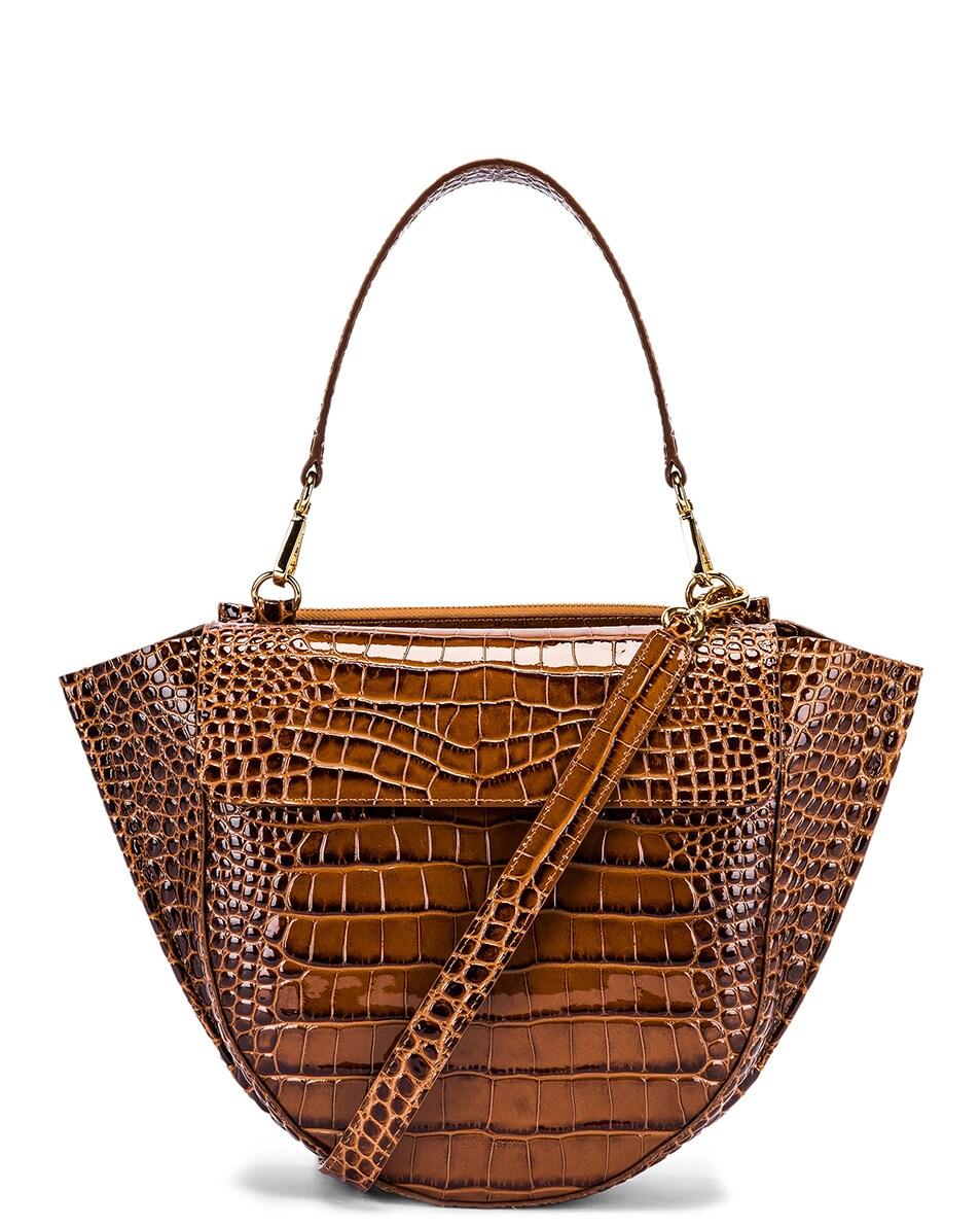 Image 1 of Wandler Medium Hortensia Leather Bag in Croco Toffee