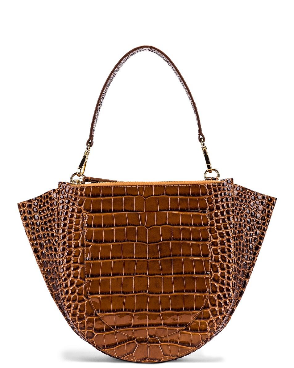 Image 3 of Wandler Medium Hortensia Leather Bag in Croco Toffee