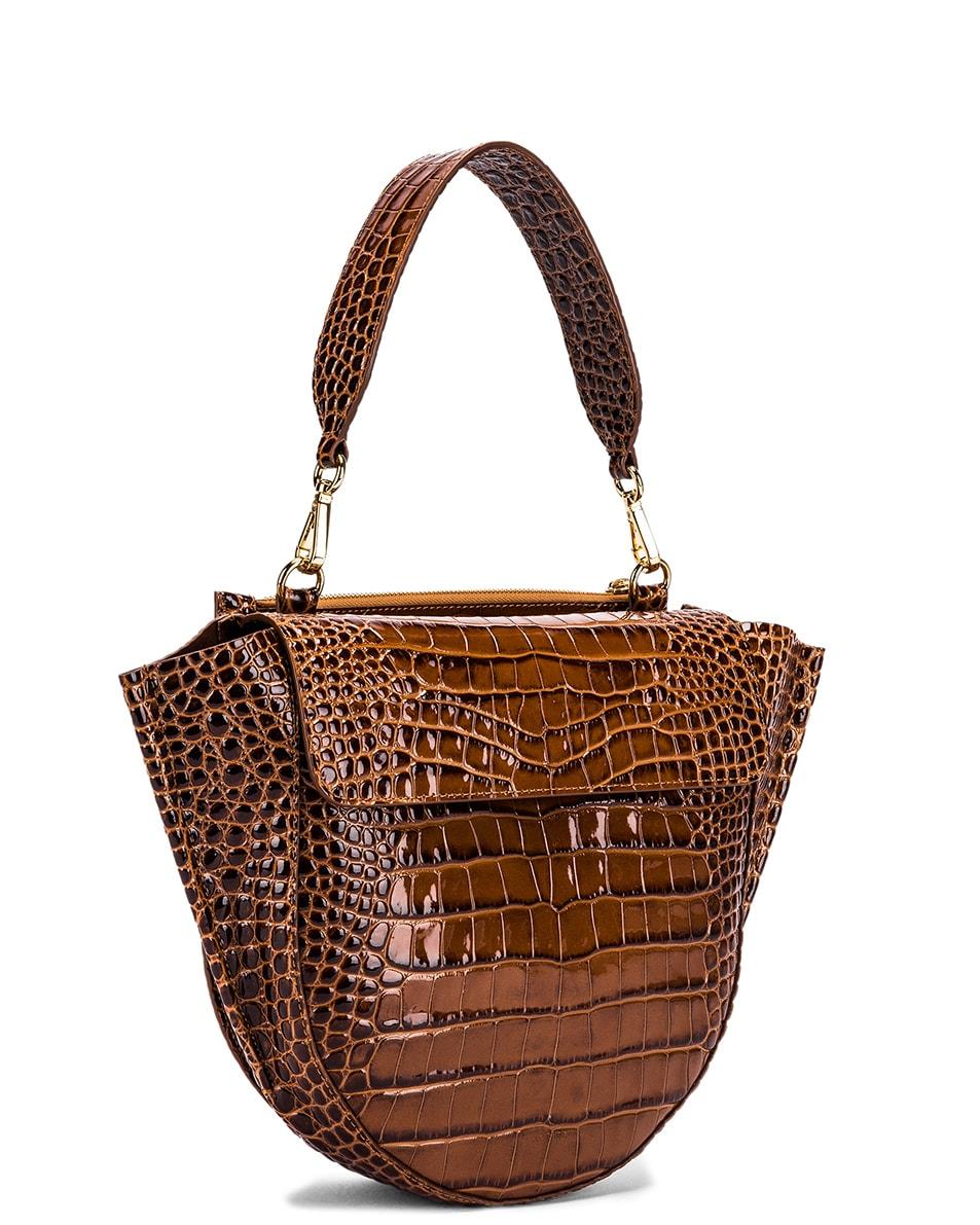 Image 4 of Wandler Medium Hortensia Leather Bag in Croco Toffee
