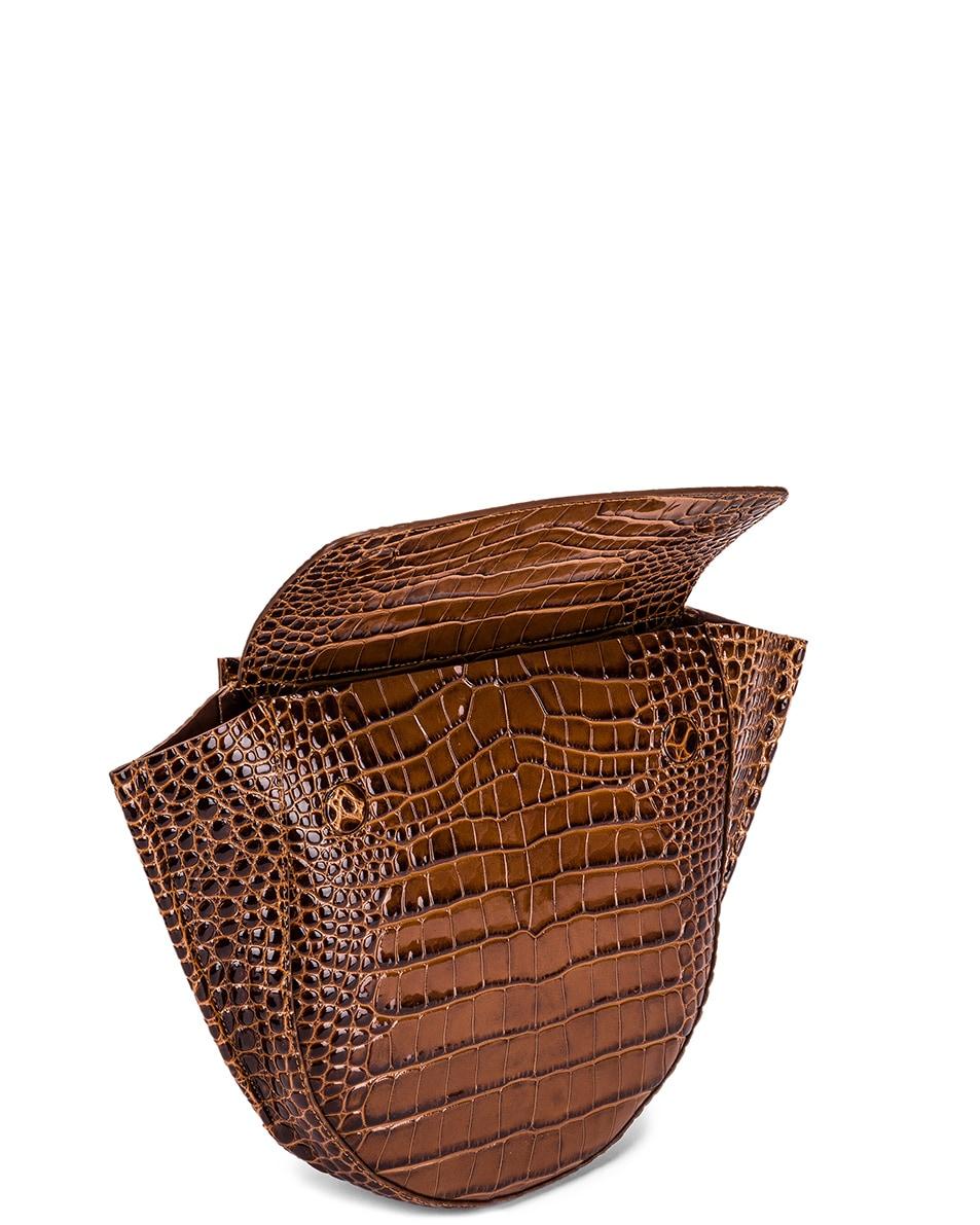 Image 5 of Wandler Medium Hortensia Leather Bag in Croco Toffee