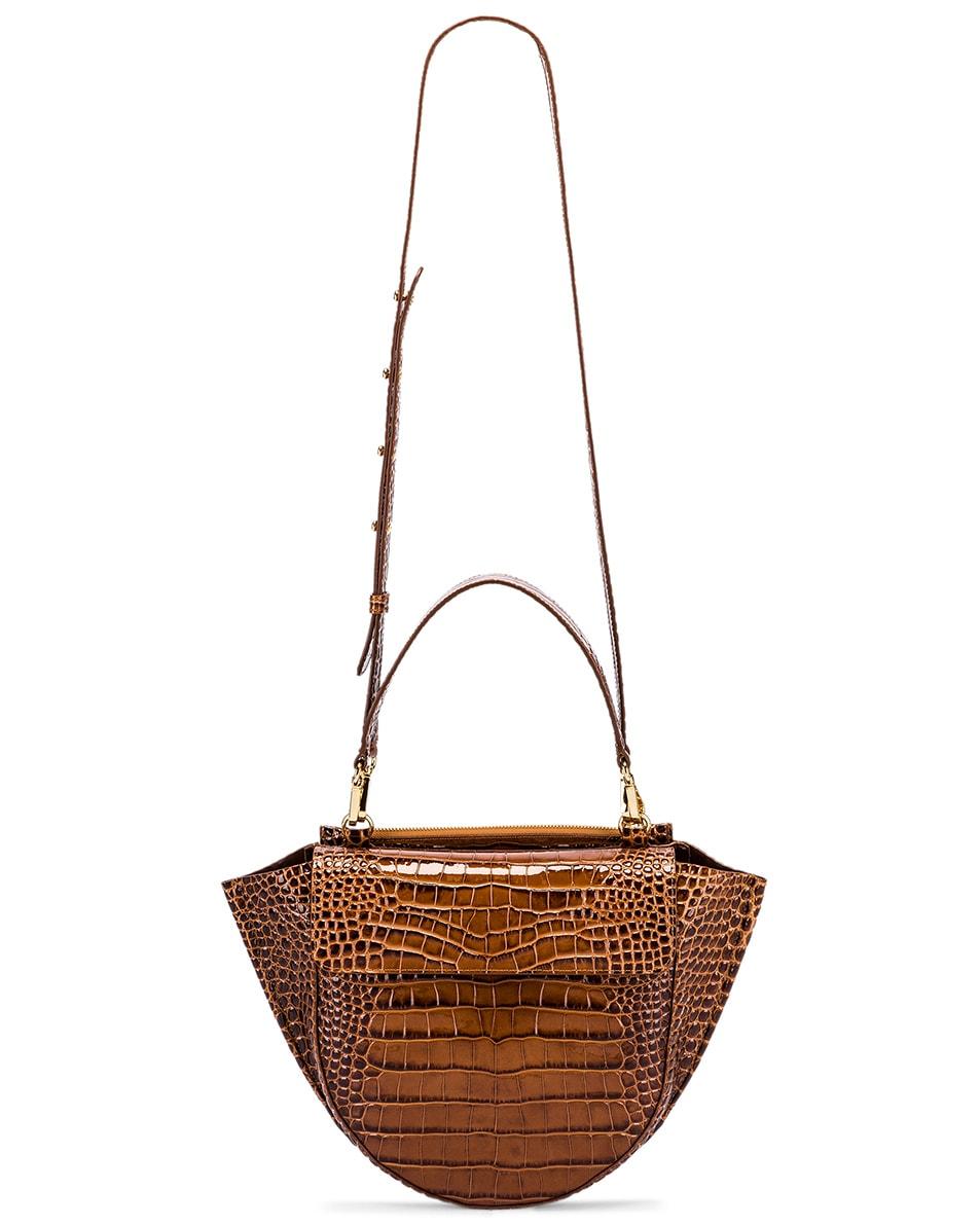 Image 6 of Wandler Medium Hortensia Leather Bag in Croco Toffee