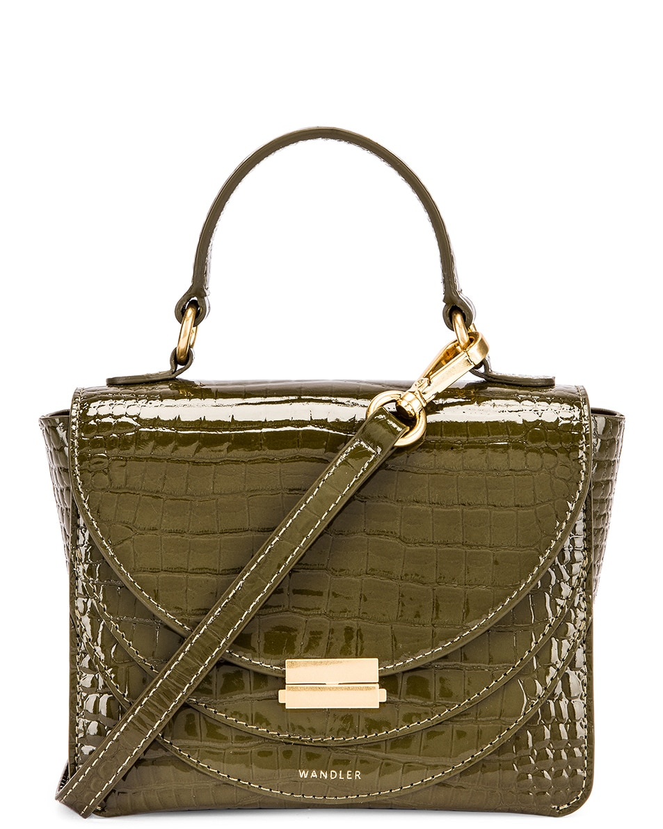 Image 1 of Wandler Mini Luna Leather Bag in Croco Olive