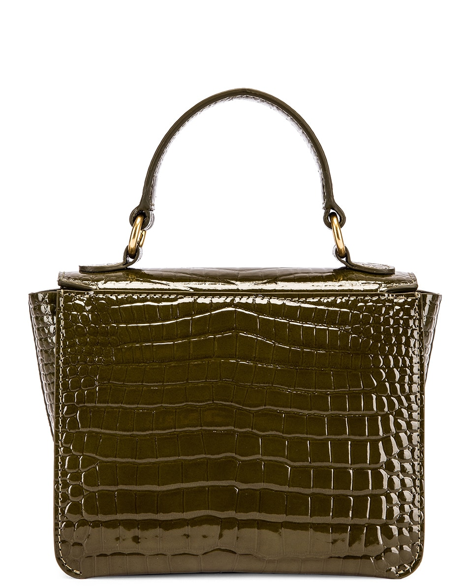 Image 3 of Wandler Mini Luna Leather Bag in Croco Olive