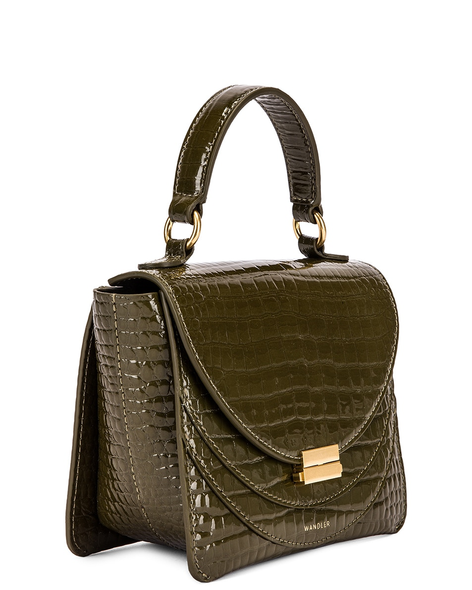 Image 4 of Wandler Mini Luna Leather Bag in Croco Olive
