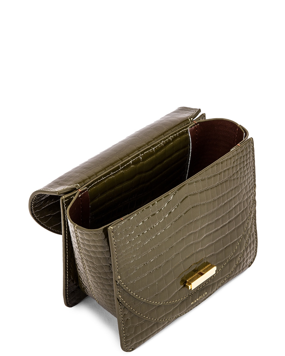 Image 5 of Wandler Mini Luna Leather Bag in Croco Olive