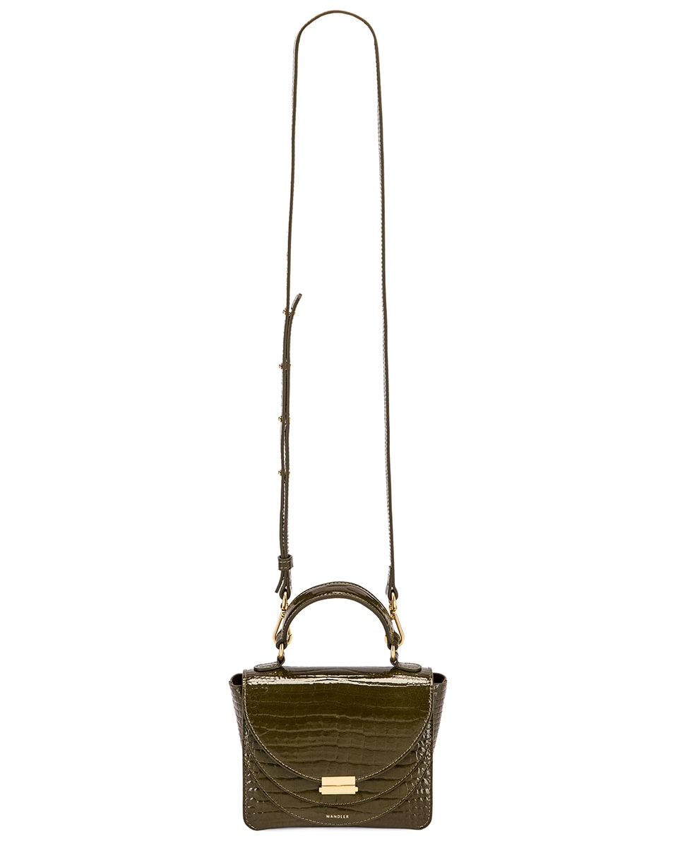 Image 6 of Wandler Mini Luna Leather Bag in Croco Olive