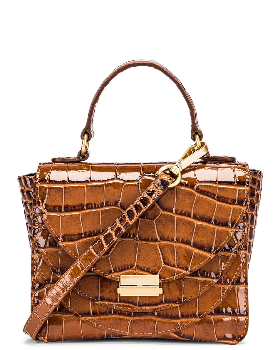Image 1 of Wandler Mini Luna Leather Bag in Croco Toffee