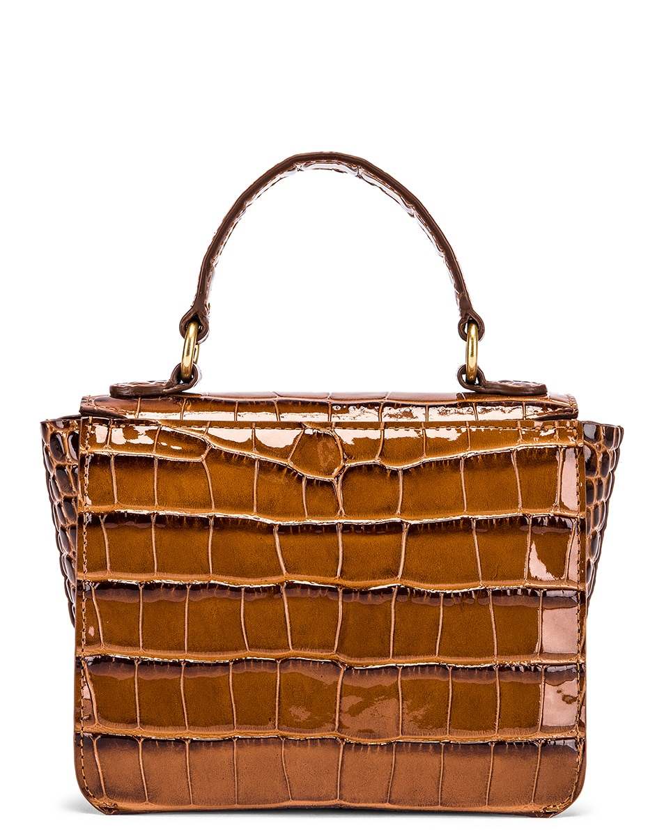 Image 3 of Wandler Mini Luna Leather Bag in Croco Toffee
