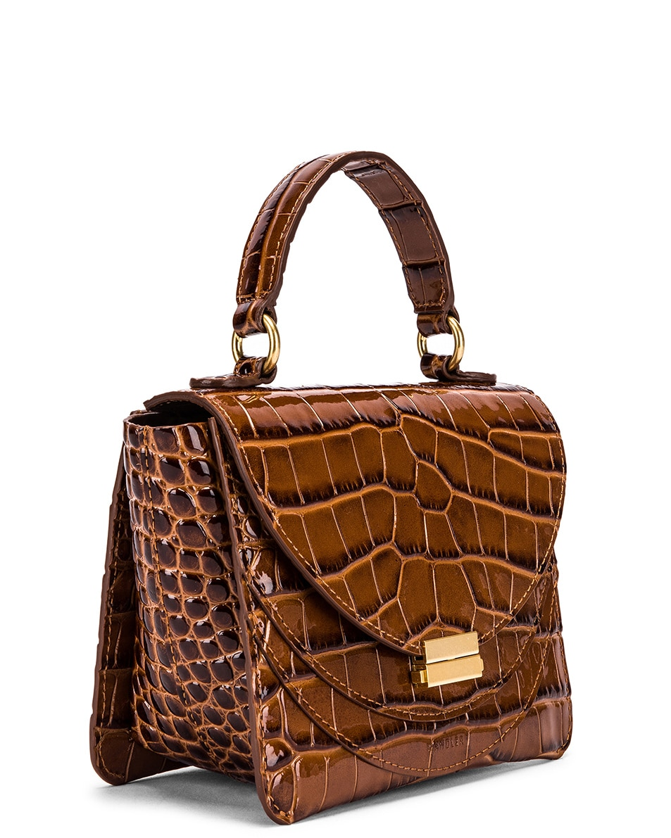Image 4 of Wandler Mini Luna Leather Bag in Croco Toffee