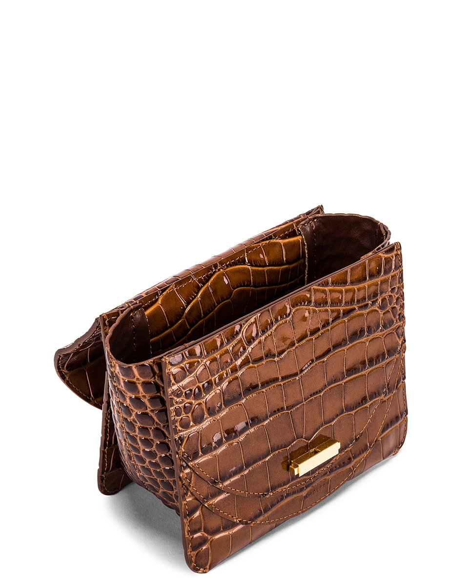 Image 5 of Wandler Mini Luna Leather Bag in Croco Toffee
