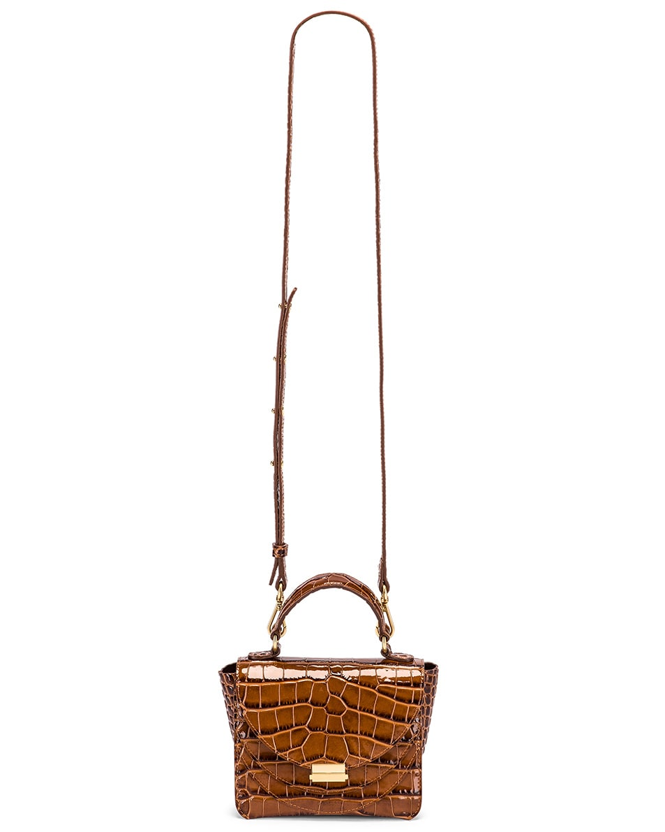Image 6 of Wandler Mini Luna Leather Bag in Croco Toffee