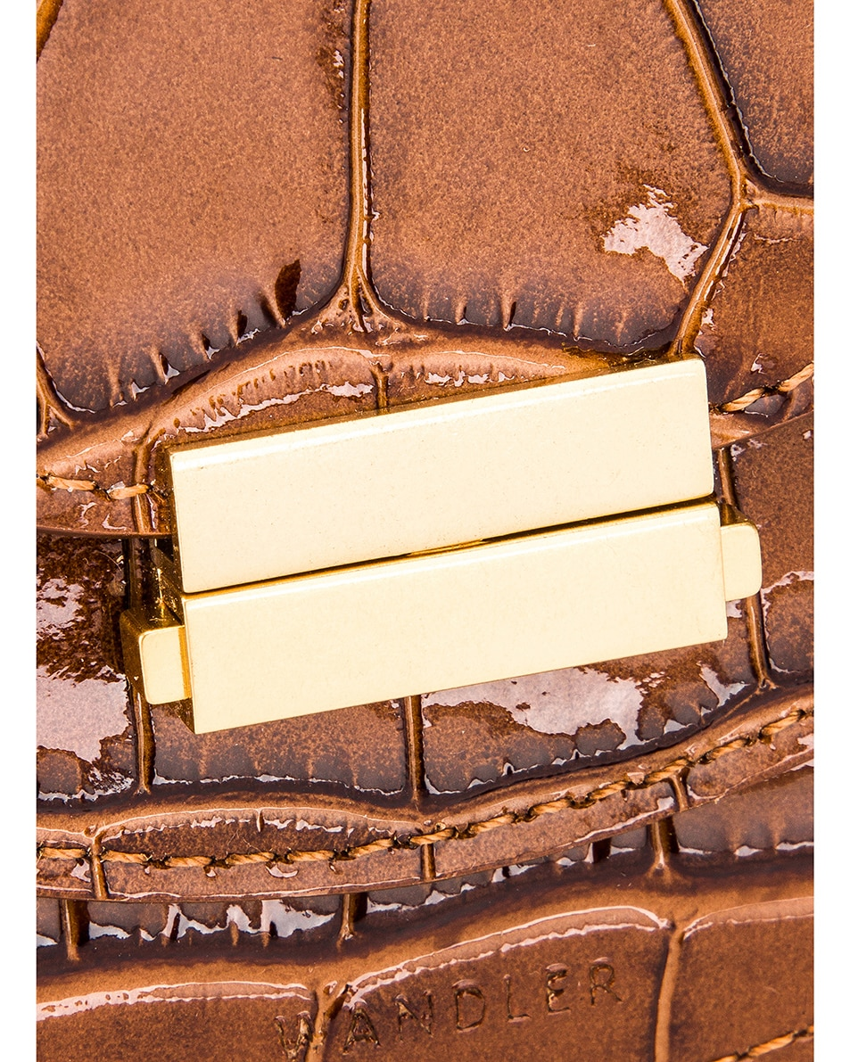 Image 8 of Wandler Mini Luna Leather Bag in Croco Toffee