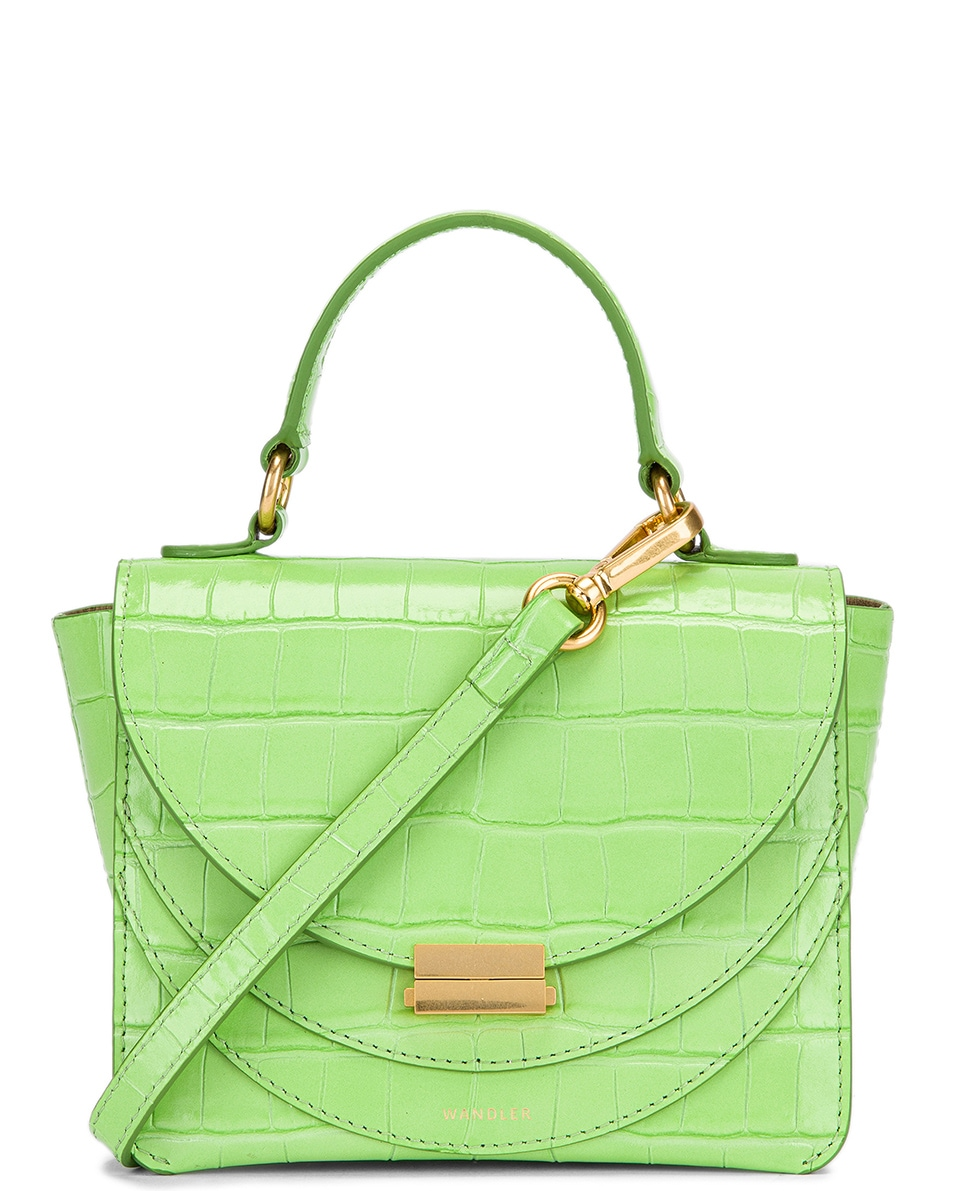 Image 1 of Wandler Mini Luna Leather Bag in Croco Toxic