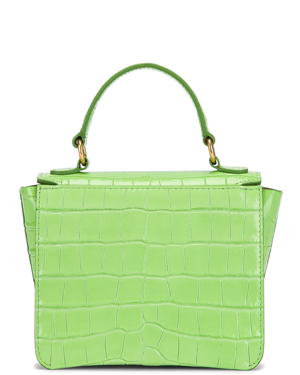 Image 3 of Wandler Mini Luna Leather Bag in Croco Toxic