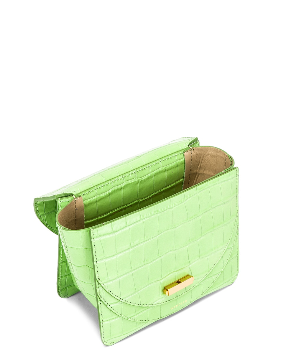 Image 5 of Wandler Mini Luna Leather Bag in Croco Toxic