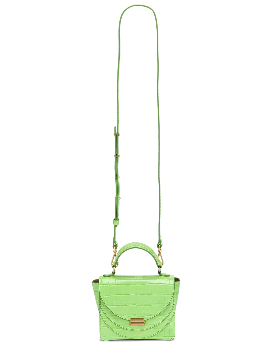 Image 6 of Wandler Mini Luna Leather Bag in Croco Toxic