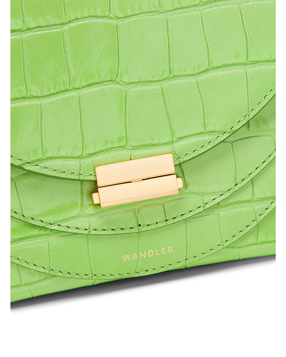 Image 8 of Wandler Mini Luna Leather Bag in Croco Toxic