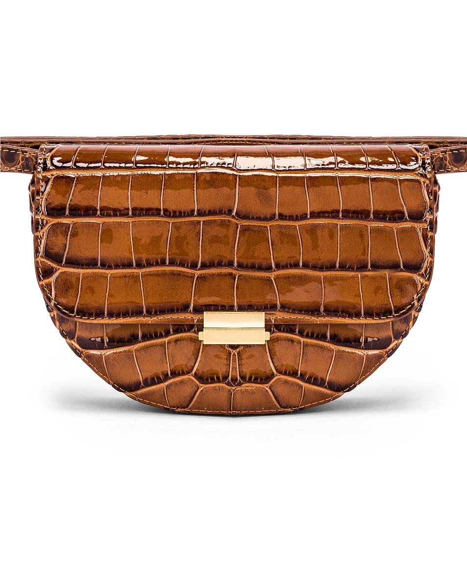 Image 1 of Wandler Big Anna Leather Belt Bag in Croco Toffee