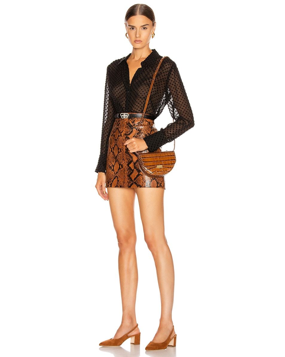 Image 2 of Wandler Big Anna Leather Belt Bag in Croco Toffee