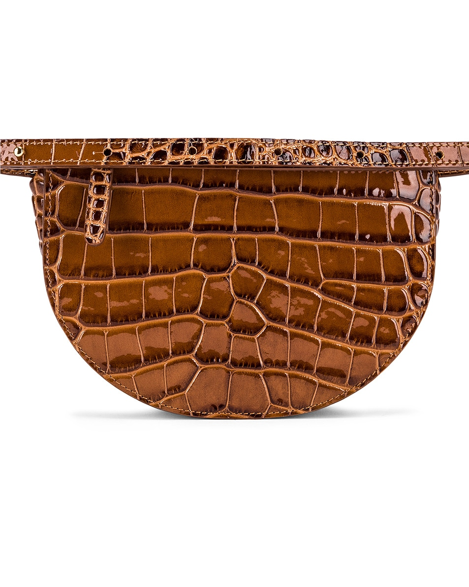 Image 3 of Wandler Big Anna Leather Belt Bag in Croco Toffee