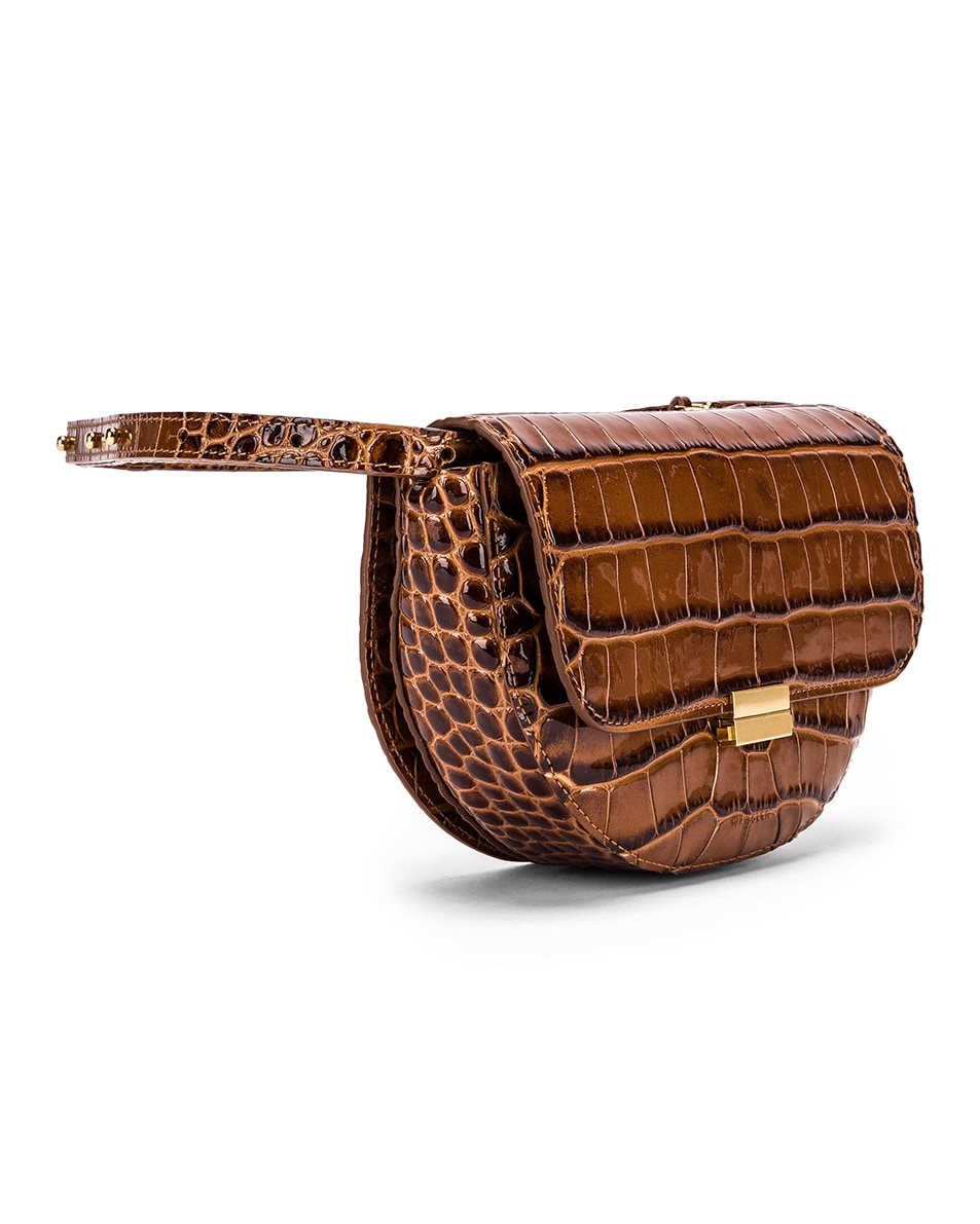 Image 4 of Wandler Big Anna Leather Belt Bag in Croco Toffee