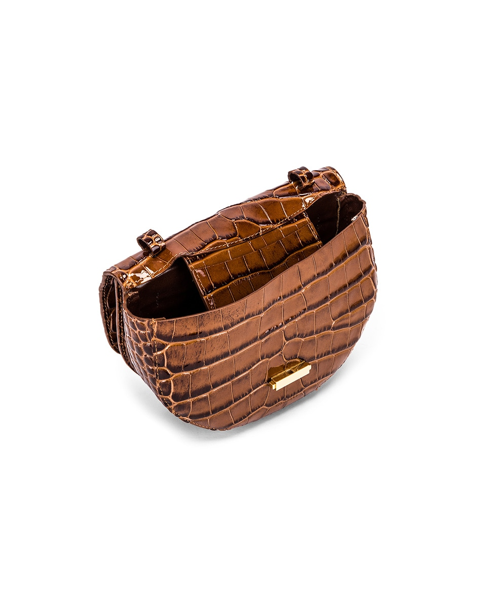 Image 5 of Wandler Big Anna Leather Belt Bag in Croco Toffee