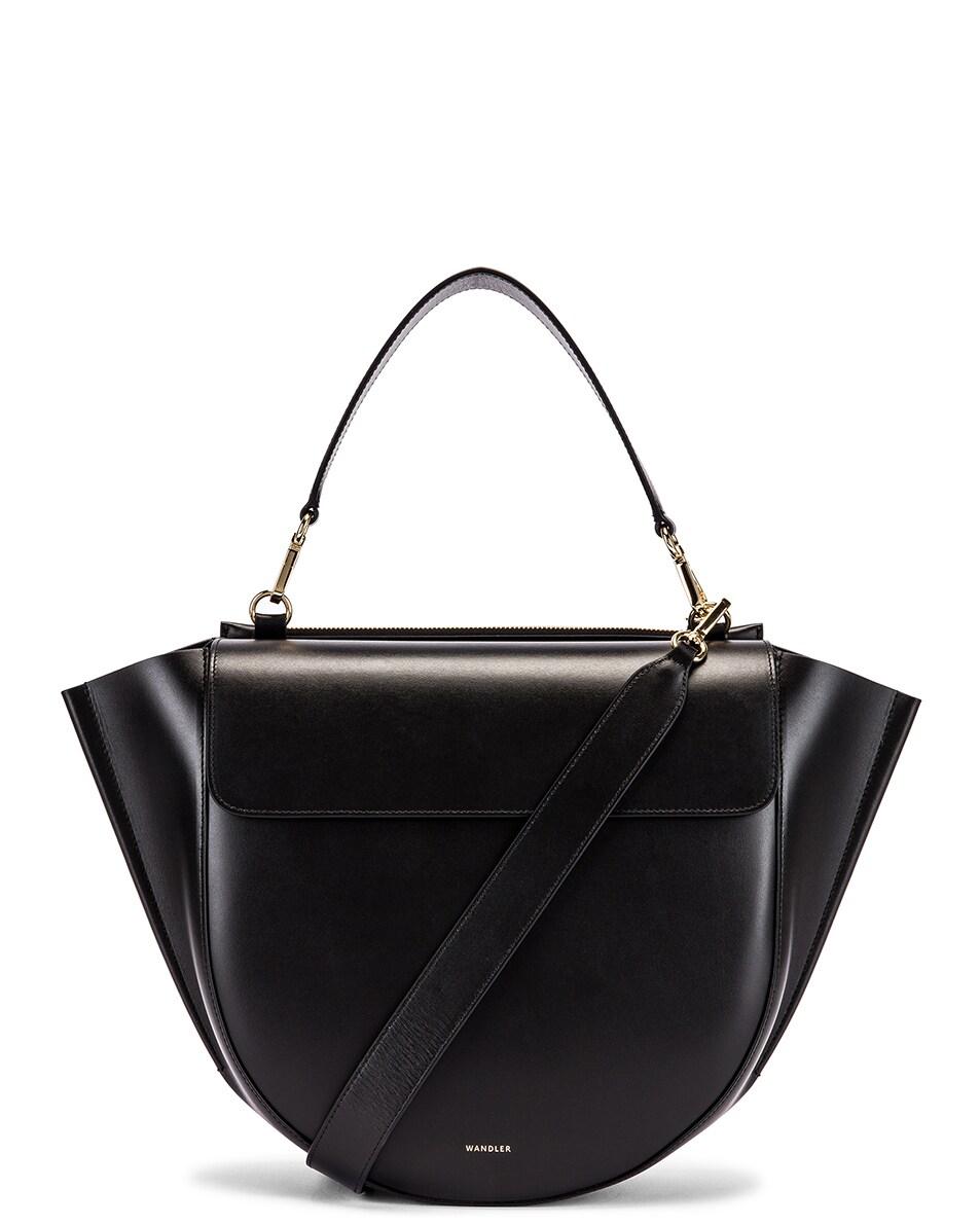 Image 1 of Wandler Big Hortensia Leather Bag in Black