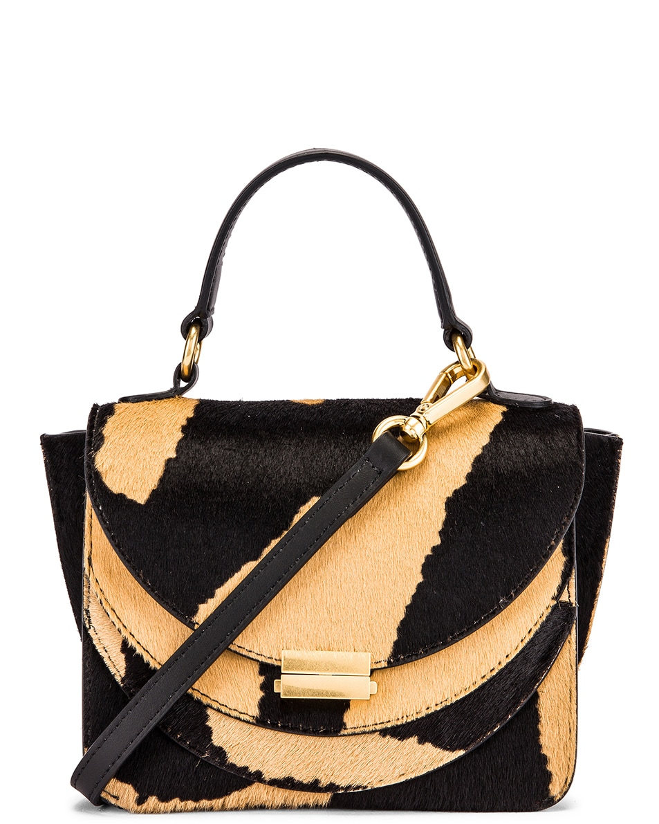 Image 1 of Wandler Mini Luna Leather Bag in Beige Zebra