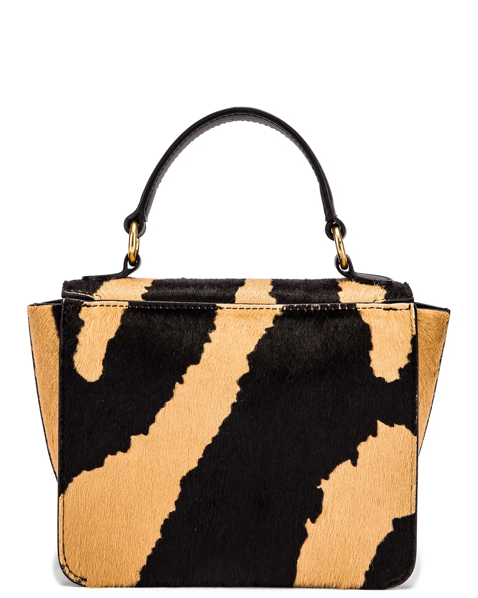 Image 3 of Wandler Mini Luna Leather Bag in Beige Zebra
