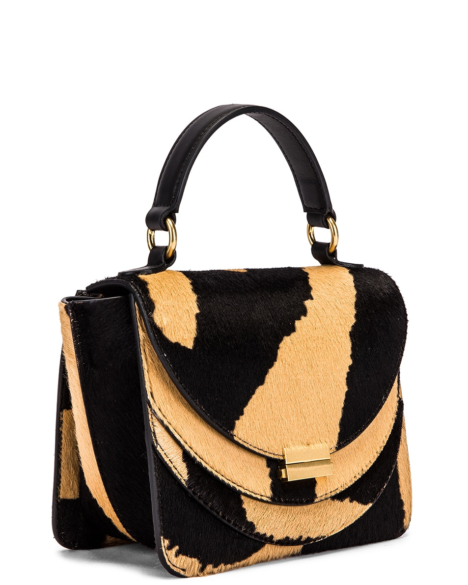 Image 4 of Wandler Mini Luna Leather Bag in Beige Zebra