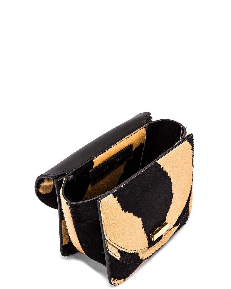 Image 5 of Wandler Mini Luna Leather Bag in Beige Zebra